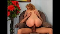 Dirty mature blonde in stockings rides young gu...