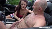 Skinny Girl Jerks Off Old Guy in a Car