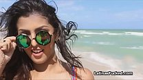 Crazy hot Latina in bikini picked up on the beach