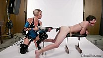 Blonde Milf whips masked male slave then anal f...