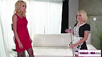 Busty house keeper gets licked by her boss