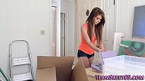 Teenage babysitter gobbles and rides big dick i...