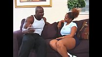 Hot Cherry Woods moans with pleasure while fit stud nails her on the couch