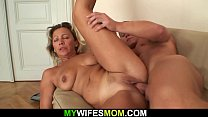 Old mother-in-law loves her son-in-law's big cock