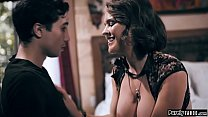 Big tits milf knows her teen neighbour spying o...