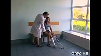 Divine young brunette lady Molly bent over for ...