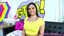 Thick and busty brunette Violet Starr gags on a...