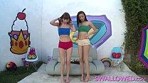 Two cute teens take turns gagging on a big cock...