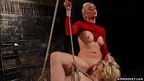 Blonde lesbian sub Lexi LaRue in rope bondage w...