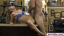 Amateur blonde babe gives head and gets her tri...