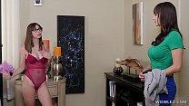 Watch Busty MILF And An Intruder Geek Girl preview