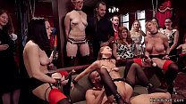 Huge tits MILF makes two hot slaves in lingerie...