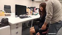 Pantyhosed Asian secretary receives a mouthful ...