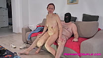 Horny woman with big saggy tits starts to strip...
