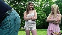 Blonde and brunette bisexuals team up on mature...