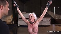 Blonde slave Astrid Stargets hard whipped rough...