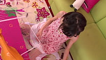 Japanese sweety gets her swimsuit ripped before...