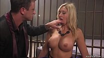 Master Mr Pete fucks throat to tied busty blone...