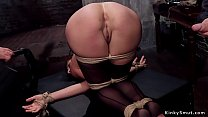 Gagged brunette trainee gets nipples clamped th...