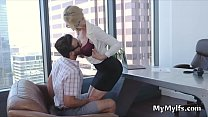 Big tit principal calls in Lucas for a quickie
