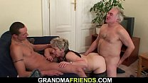 Threesome sex with old grandma
