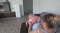 Mature lesbians love a big dildo. Chubby milf f...