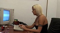 Italian blonde secretary masturbating in the of...