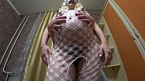 A pregnant blonde with a beautiful butt gets af...