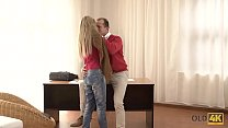 OLD4K. Adorable babe is happy to have unexpecte...