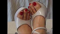 Sexy feet size 13 in silver high heels ,long re...