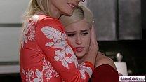 Blonde stepdaughter eating her busty stepmoms p...
