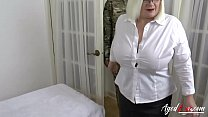 Busty blonde playing with burned out former sol...