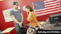 Hot Curvy Teacher Sara Jay, fills her fuck_holes with a foreign student's hard cock, milking him until he unloads a huge load of cum all over her face & big tits! Full Video & Sara Live @ SaraJay.com! Thumbnail