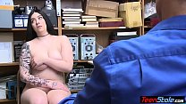 Big boobed chubby suspect got caught and fuxked...