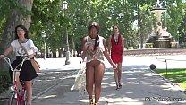 Mistress disgraces ebony bbw in public
