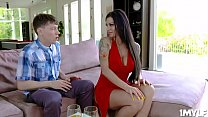 Hot brunette milf takes the studs dick between ...