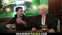 Boozed old blonde granny