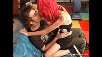 Cute redhead teen girlfriend riding her boyfrie...