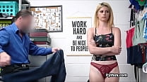 Stealing blonde ends up on cock at office