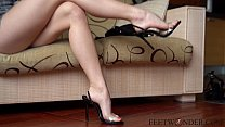 Feet model shows her sexy legs and teases you