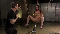 Gagged brunette slave Victoria Voxxx is bound a...