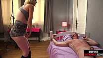 Bigtit domina whipping and caning before strapo...