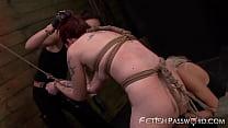 Inked redhead torment in femdom threeway