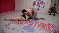 Lesbian Wrestling Fight between busty Jenevieve Hexxx and Johnny Starlight with rough sex for the loser Thumbnail