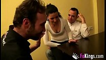Gipsy teen enjoys a hot threesome with two musc...