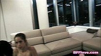 Lesbian bffs having a blast during a pajama party