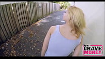 Young Blonde Fucks For Cash Outdoors