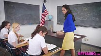 Lesbian students binded and licked their sexy b...