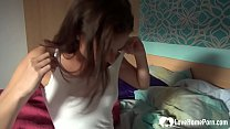 Incredible brunette girlfriend teases her man a...