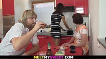 Cheating threesome with old couple and y. girl